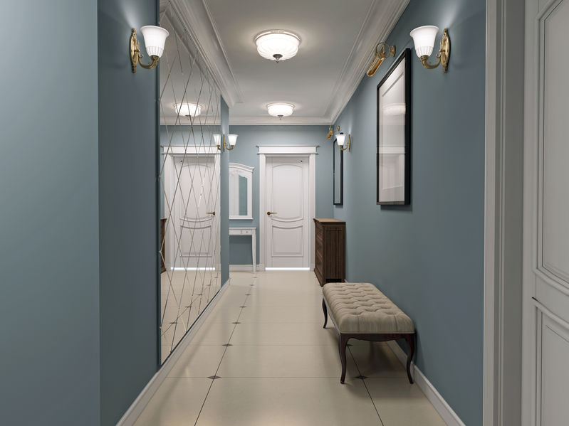 46198019 - Luxury Entrance Hall Art Deco Design. Corridor With Blue Matt Walls And White Marble Flooring. White Ceiling And Doors. Decorated Wall Mirror. 3d Render